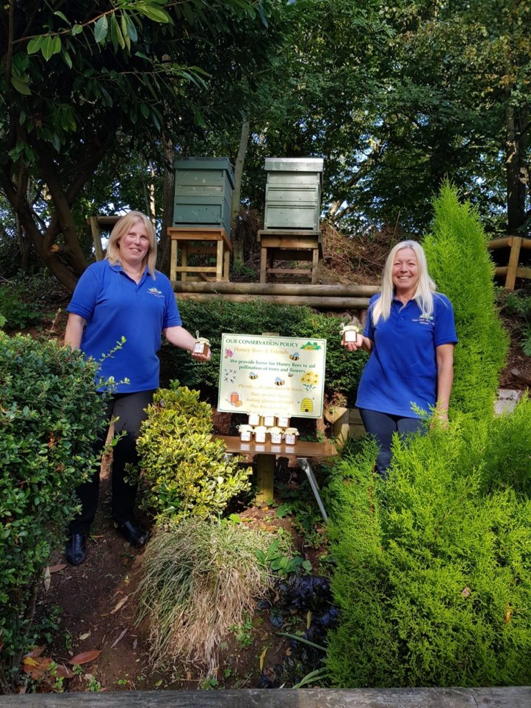 Two bee hives sited at Lickhill Manor Caravan Park in Worcestershire (above) are producing delicious honey